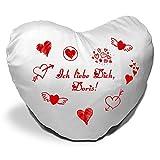 Herzkissen mit Namen Doris und Motiv - Ich liebe Dich - zum Valentinstag - Herzkissen personalisiert Kuschelkissen Schmusekissen