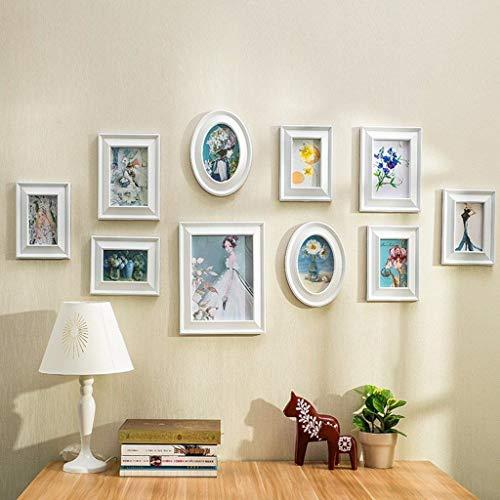 Bobo Innen- Hölzerne Fotowand, rechteckiger Rahmen 8pc, runder Bilderrahmen 2pc europäischen Stil Schlafzimmer Wohnzimmer Metope (Farbe : A, größe : 108 * 60CM)