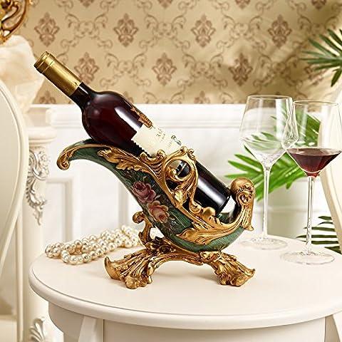 XOYOYO Die High-End-Möbel Dekoration Luxuriöse Dekoration Kunsthandwerk Heimtextilien Wine Rack Europäischen Wein Zimmer Dekor, Drahtziehen Green Wine Rack