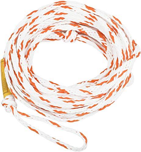 MESLE Schleppleine 2P 55', schwimmendes Schlepp-Seil für 2-Personen, weiß-orange, Länge 16,8 m, Polyethylen, Zug-Seil, Schwimmfähig, jeweils Auge an Enden, Fun-Tube, Tow-able, Ringo
