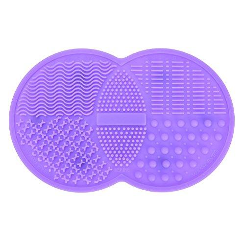 Make-up-Pinsel Reinigung Matte, Kosmetik Pinselreiniger Pad Silikon Waschen Werkzeug Schrubber Saugnapf, Violett (Waschen Violet)
