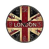 Pixnor orologio da parete in legno, orologio da parete vintage rotondo, non-ticking Silent bandiera britannica stile country Style