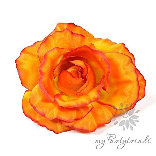 tige Haarrose/Ansteckrose mit Satinglanz in orange (Ø 12 cm; Höhe 6 cm) (Ansteckblume, Haarblume, Seidenblume) ()