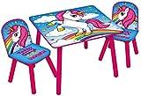 Kids Unicorn (Multicoloured) Table & 2 Chairs Set Nursery Bedroom Playroom Furniture