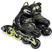Meteor Area Blue: patines infantiles Rodamientos de 7 de carbono, Patines en línea con ajustable tamaño del zapato: S M L - S (30 - 33) de m (34 - 37) de l (38 - 41), DISTRICT, Negro , EU 38-42 (L)