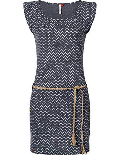 Ragwear Damen Baumwollkleid Jerseykleid Tag Zig Zag Navy Gr. M -