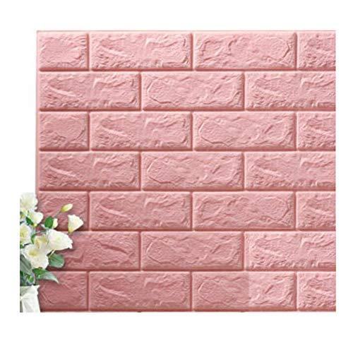 Tapete Selbstklebende Tapete Schlafsaal Raum Wasserdicht Wandaufkleber Plus Dicken Schaum Hintergrund Wand Papier Aufkleber Wohnzimmer Schlafzimmer Haushalt HENGXIAO (Farbe : Pink, größe : 70 * 77cm) -