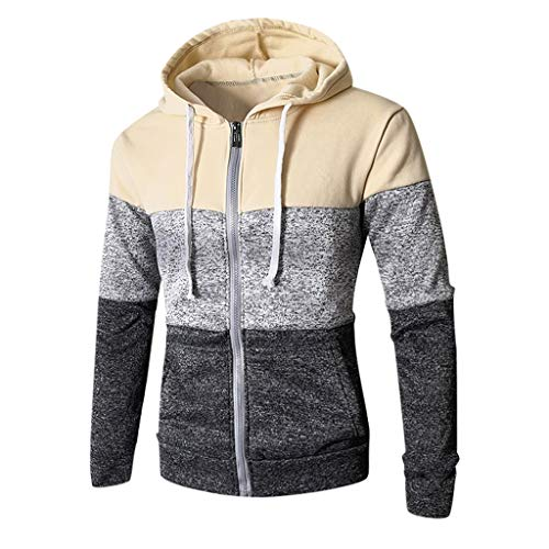 Longra Winter Herbst Cloth Herren Patchwork Tunika Langarm Winter Casual Slim Pocket Fit Hoodies Bluse Top XXXL beige