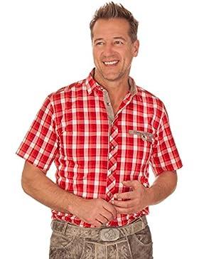 Trachtenhemd mit 1/2-Arm - FREDDY - rot, türkis