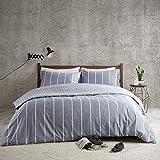 Bettwäsche 200x200cm Gestreift 100% Baumwolle Renforcé 3-teilig Bettbezug Kissenbezüge 50x75cm Geometrisch Karomuster Ideal für Schlafzimmer Mordern Stripe