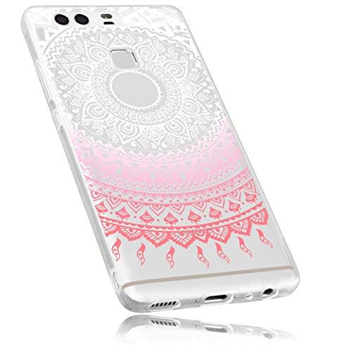 mumbi Schutzhülle Huawei P9 Hülle im Mandala Design in transparent rosa