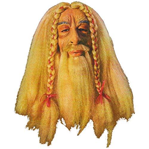 Wikinger Maske (Maske MIT Perücke Wikinger Rocker Alt Hippie)