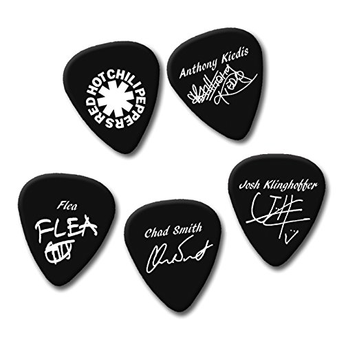 Red Hot Chili Peppers Guitar Pick Plektrum Set of 5Medium Gauge 0,71mm schwarz