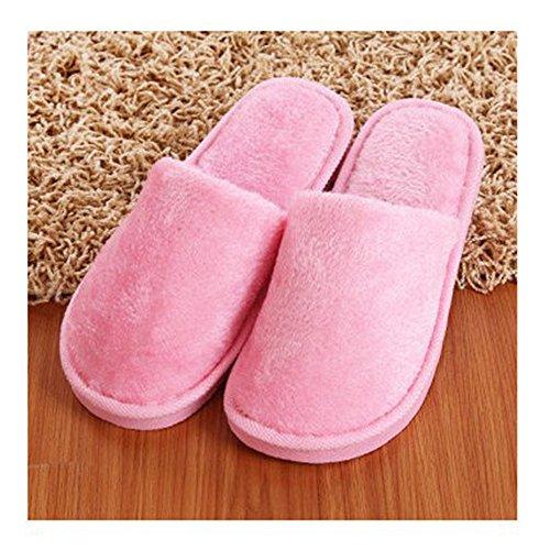 BOZEVON Donne & Uomo Invernale Caldo Pantofola Cotone Peluche Casa Scarpe Morbido Unisex inverno interno Autunno gli amanti Pantofole Rosa (donne)