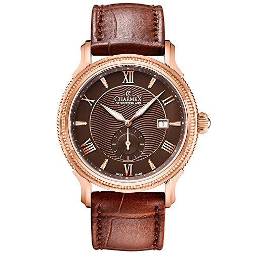 Charmex Men's La Rochelle 42mm Brown Leather Band Steel Case Quartz Watch 2822