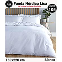 ADP Home - Funda nórdica Lisa, Calidad 144Hilos, 16 hermosos colores, cama de 105 cm - Blanco