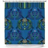 DiaNoche Designs - Tenda da Doccia da Bagno di Pam Amos, Motivo: Felce di Ibisco, Colore: Blu