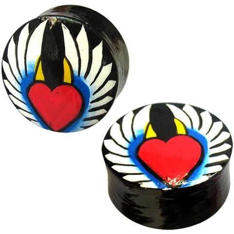Madera Chic-Net Brancher cuernos de diablo Angel Heart Wing teca negro rojo túnel amarillo unisex pendientes