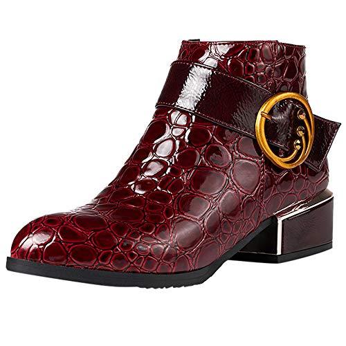 Stiefel Damen,Seite Reißverschluss High Heels Martin Stiefel Krokodil Muster Schuhe...