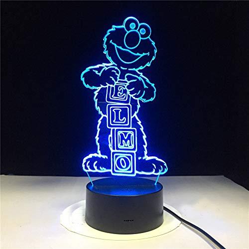 Elmo Straßen-Zahl Nachtlichthauptdekorationslicht-Geburtstagsgeschenk der Karikatur der Lampe 3d führte Nachtlichtbaby für Kinderschlafzimmer