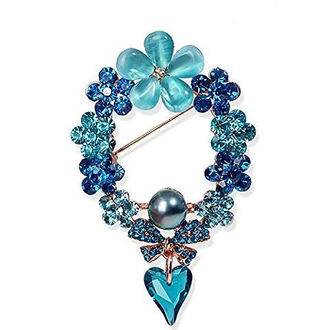 Frau Eine Legierung Brosche Kristall Katzenauge Bogen Koreanisch Blume Blau
