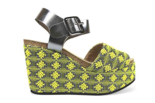 scarpe donna LOGAN sandali zeppe giallo tessuto pelle lucida AK640 (40 EU)
