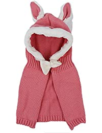 Siamese Kappe - SODIAL(R)Winter Baby Kinder Maedchen Jungen Warme Wollene Haube Schal Muetzen Huete (rosa)