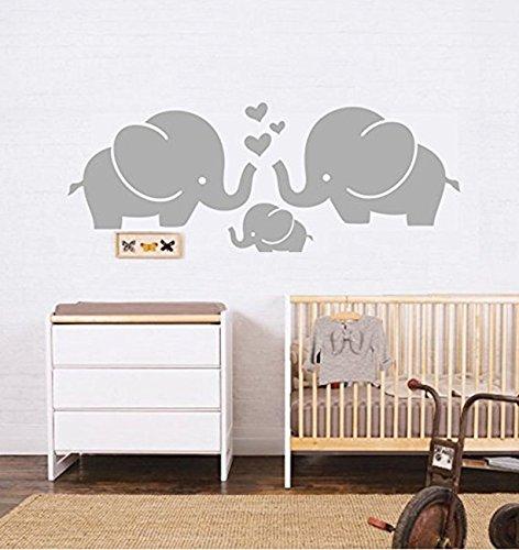Elefanten Familie mit Herzen Wand Aufkleber baby Kinderzimmer Decor Kinder Raum, 76,2cm W x