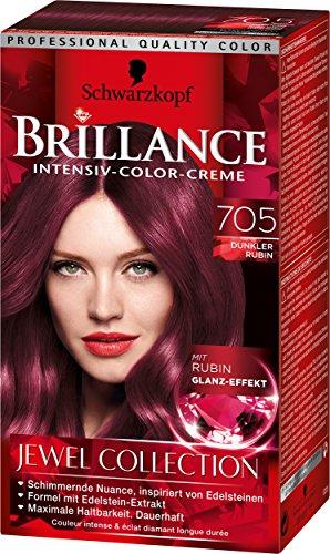 Brillance Intensiv-Color-Creme 705 Dunkler Rubin Jewel Collection, 3er Pack (3 x 143 ml)