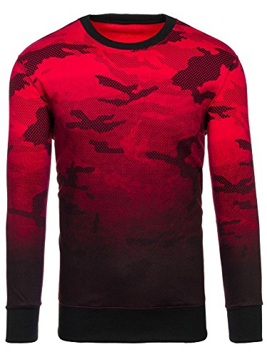 BOLF Herren Sweatshirt ohne Kapuze Sportlicher Stil Army Camo Motiv J.STYLE DD130-2 Rot M [1A1] |