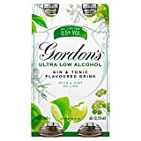 Gordon's Ultra Low Alcohol Gin and Tonic with a Hint of Lime 4 x 250ml Bottle
