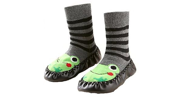 Chaussons chaussettes montantes b/éb/é avec semelle antid/érapante 12-24 mois Noir