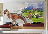 VLIES FOTOTAPETEN 3D DINOSAURIER IN JURASSIC PARK PRAIRIE KN-1134 (S 200cm x 140cm 4-Bahne)