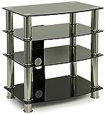 Centurion Supports GTS6 4-Shelf Gloss Black with Silver Legs Flat Screen TV / Hi-Fi / AV Rack Glass Stand by Centurion Supports