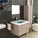 Badmöbel Komplettset mit Waschbecken aus Mineralguss, Unterschrank, Hochschrank und Spiegel mit Softclose-Funktion / braun