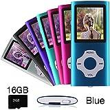 Ueleknight MP3 / MP4 Player con a Tarjeta Micro SD de 16GB,Reproductor de Música Digital Portátil Utilizado Como Grabadora de Voz/FM-Radio/Video/E-Book Reader,Pantalla LCD de 1.8 Pulgadas-azul