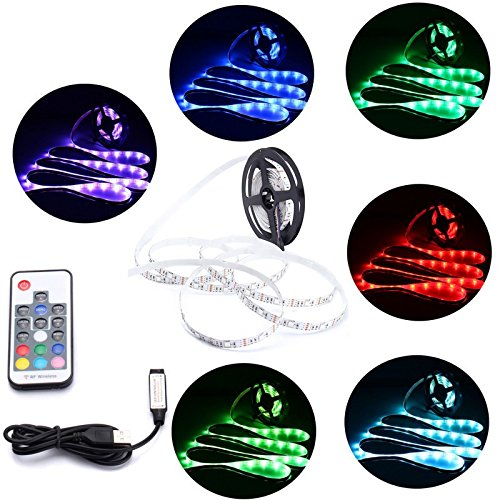 MASUNN Dc5V Non-Wasserdicht USB RGB 5050 LED Strip Tv Backlight Kit + 17 Keys Fernbedienung-3 M
