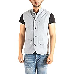 Owncraft Mens Sky Blue Wool Nehru Jacket 2