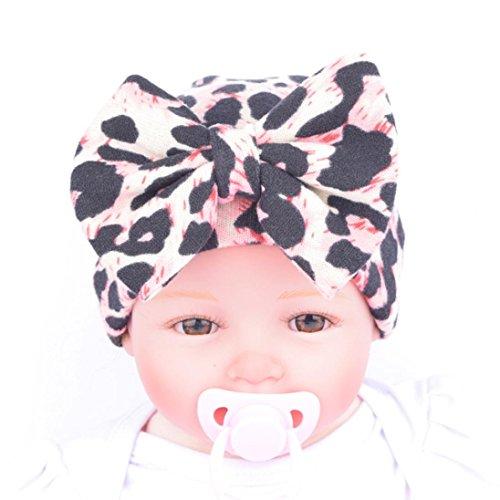 Oyedens Sombrero De Neumáticos Banda De Pelo De La Manera Del Bebé Del Arco Bufanda Bastante Lindo Sombrero De Pelo De Leopardo Del Bebé (Rosado)