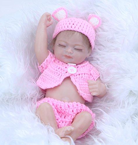 KEIUMI Mohair 11 Pulgadas Reborn Baby Doll Mini Vinilo de Silicona Realista Realistic Sleeping Girl Bebés niños cumpleaños