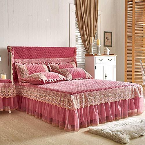 1949shop Baumwolle Wildleder Bett Rock Anzug Maschine waschbar Bettwäsche Plissee Bettdecke Gummiband Befestigung rutschfeste Schutzhülle Staub (Farbe: B rosa, Größe: 200 cm x 220 cm + Bettdecke) - Getrimmt Rock Anzug