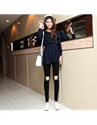 &zhou Moda otoño/invierno bordado leggins pantalones Dama , black ,