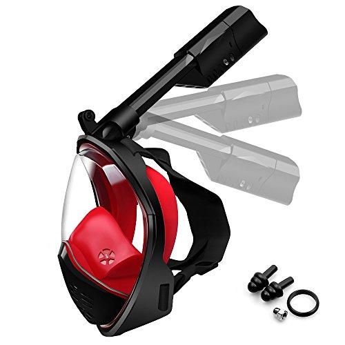 Swonuk Tauchmaske Schnorchelmaske, Schnorchel Tauchermaske Vollgesichtsmaske Tauchmaske mit 180°Blickfeld und Kamerahaltung Wasserdicht für Erwachsene Anti-Fog Anti-Leak.(L)