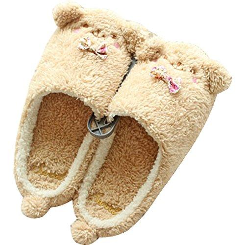 Minetom Damen Mädchen Plüsch Hausschuhe Winter Pantoffeln Cartoon Plüschschuhe Weiche Warme Schuhe Kuschelige Home Rutschfeste Slippers Braun EU 38-39