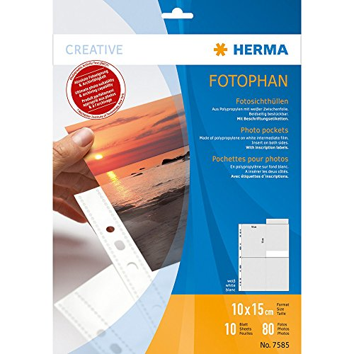 Preisvergleich Produktbild Herma 7585 Fotophan Fotohüllen (für 80 Fotos im Format 10x15cm, 10 Sichthüllen, weiß) mit Beschriftungsetik., für gängige Ordner u. Ringbücher