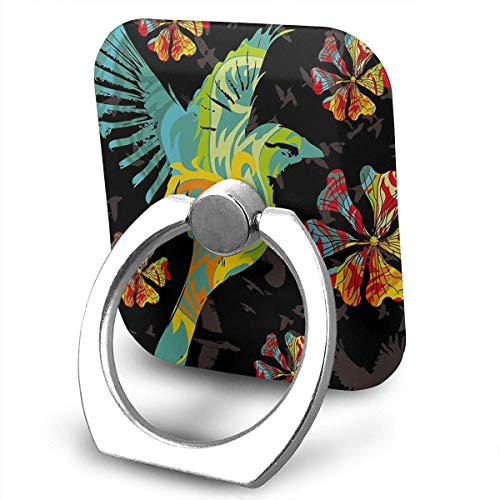 Nicegift Colorful Birds Sackpack Drawstring Backpack Sport Gym Bag Yoga Runner Daypack Cell Phone Ring Holder, 360 Degree Rotation, Finger Grip Stand Holder iPhone ipad Tablet Ring Holder