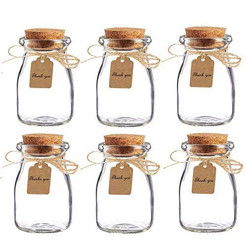 AmaJOY 16 Gastgeschenke-Gläser mit Korkdeckel, Begleit-Karte und Kordel, Hochzeit, Party, Gastgeschenk, Glasflaschen