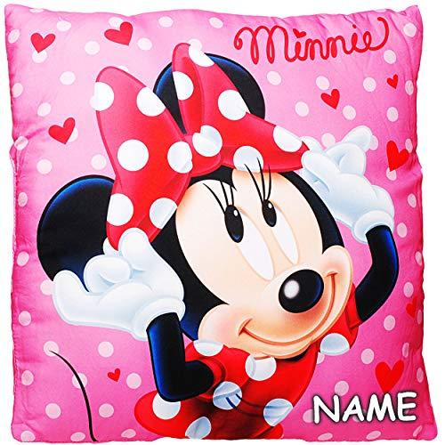 alles-meine.de GmbH Kissen / Schmusekissen / Sitzkissen -  Disney - Minnie Mouse  - inkl. Name - Kuschelkissen - Mikrofaser - 40 cm * 40 cm - groß - beidseitig Bedruckt - sehr .. (Kissen Mouse Minnie)