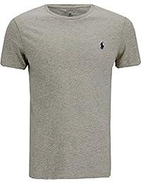 New para hombre Ralph Lauren cuello redondo de manga corta Custom Fit T Shirt Tamaño S, M, L, XL y XXL, algodón, Gris, small