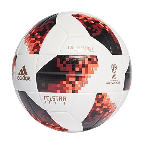 Adidas World Cup Knock out de fútbol, otoño/Invierno, Color White/Solar Red/Black, tamaño 5